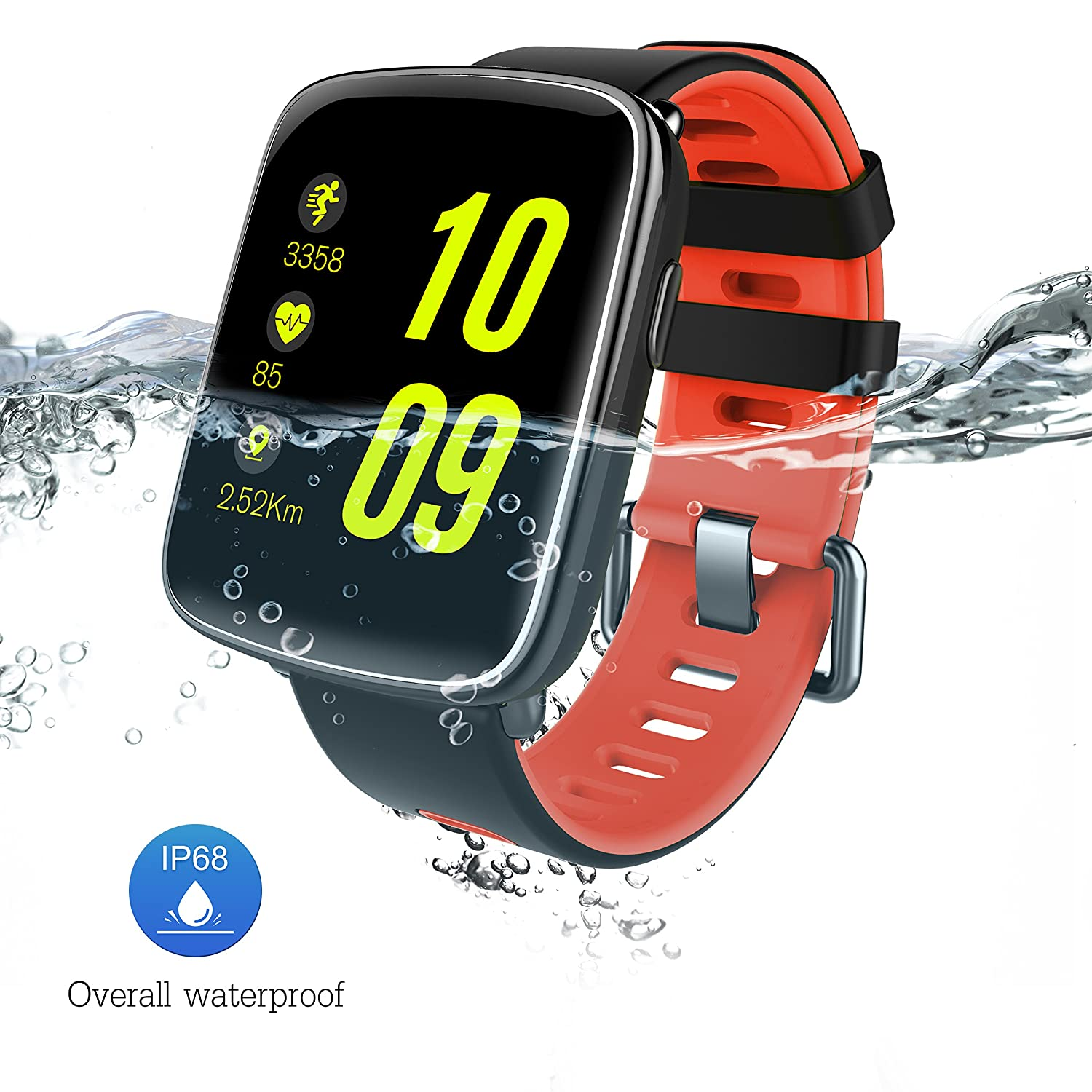 Waterproof Fitness Smart Watch with Notification Synchronization, Heart Rate Monitor, Sleep Monitor, Pedometer for iOS and Android Smartphones ...