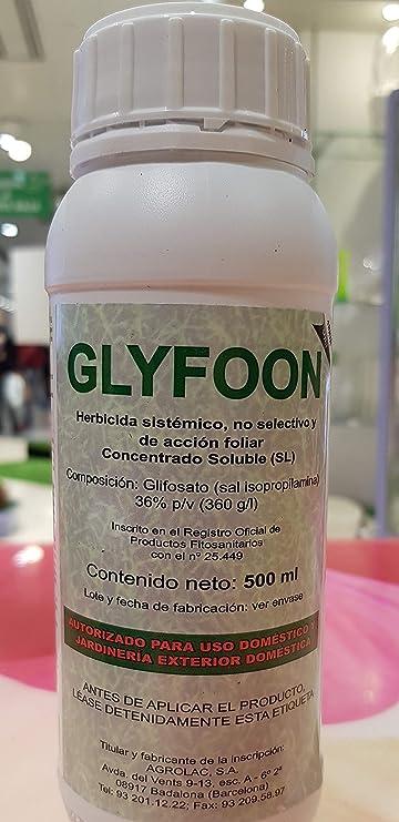GLYFOON HERBICIDA Total 500 ML, SISTÉMICO. NO Residual: Amazon.es: Jardín
