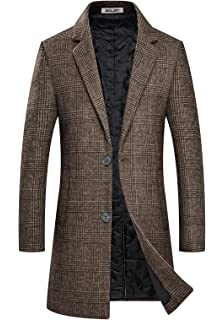 Aptro Men S Winter Trench Coat Long Slim Fit Full Length Military Luxury Wool Overcoat At Amazon Men S Clothing Store