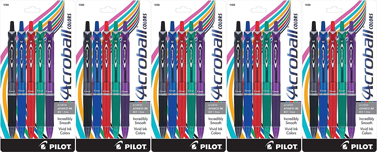 1 Pilot Acroball Colors Retractable Advanced Ink Ball Point Pens; Medium Point 2-Pack Smear-Resistant Advanced Ink for Skip-Free Lines Black 31830 Ultra-Smooth Writing