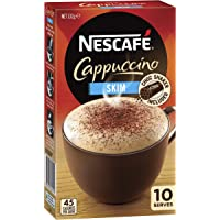 NESCAFÉ Skim Cappuccino Coffee Sachets 10 Pack, Chocolate Shaker Included