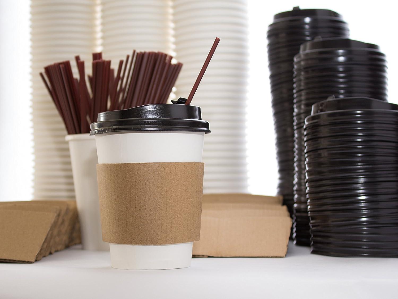 メガパックの110 – 使い捨て12オンス。紙コーヒーカップのホットドリンク、旅行Lids with Sip穴カバー、環境に優しい袖& Stirrerストロー – パーティーパックのto Go旅行マグカップ   B06XT2YRVF