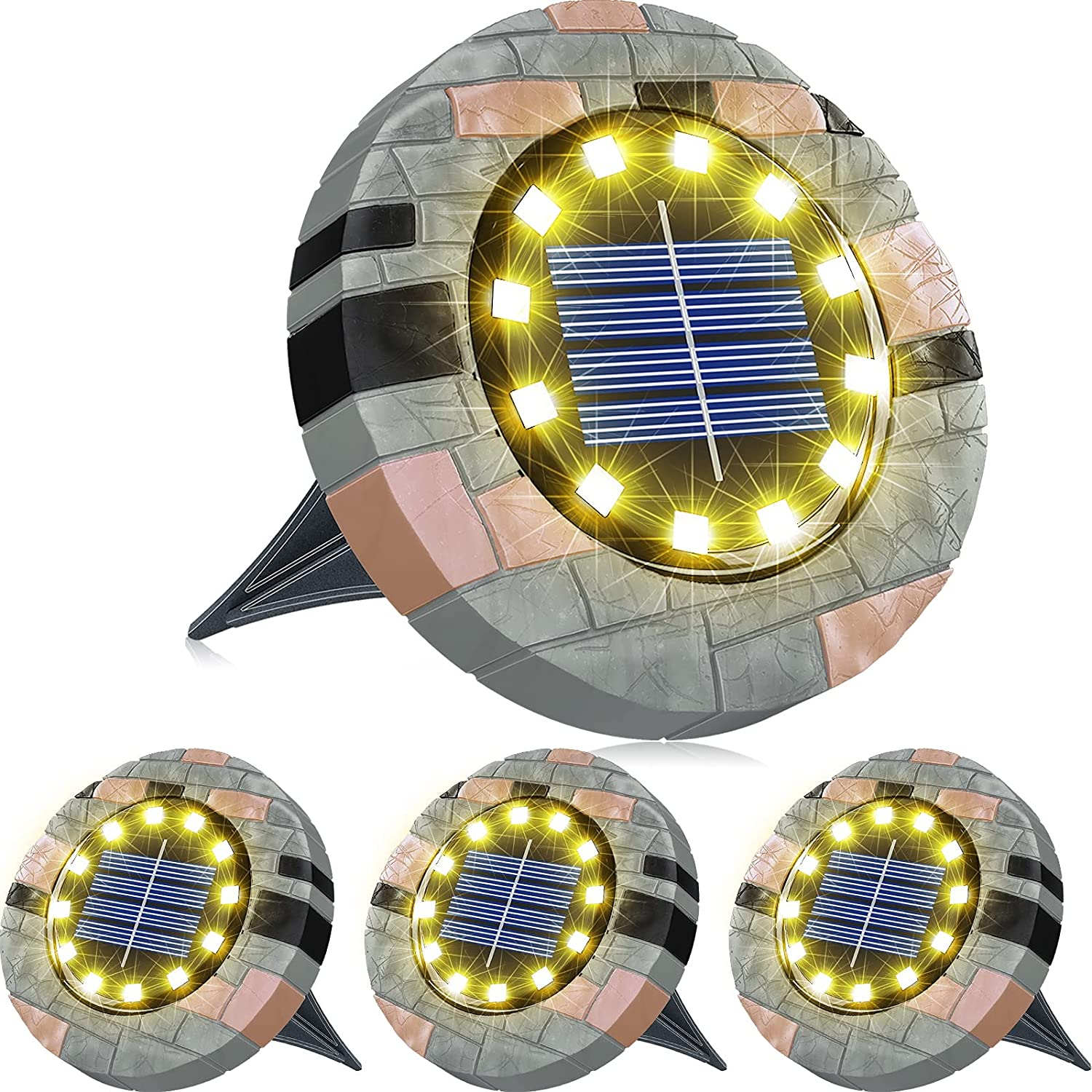 Biling Solar Ground Lights Outdoor with 12 LEDs, Bright Solar Lights Outdoor Waterproof LED Solar Disk Lights for Pathway Garden Yard and Walkway (Warm White 4 Pack) …