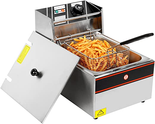 2500W Electric Deep Fryer Commercial Tabletop Restaurant Fry Basket 6L 2019