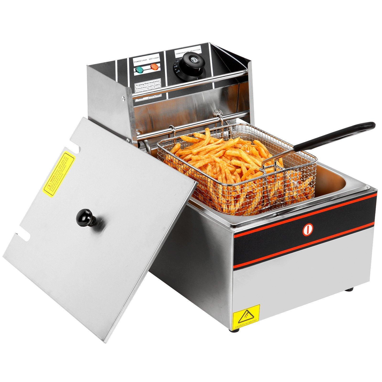 2500W 6L Single Tanks Electric Deep Fryer Professional Tabletop Restaurant kitchen Frying Machine With 1 Basket