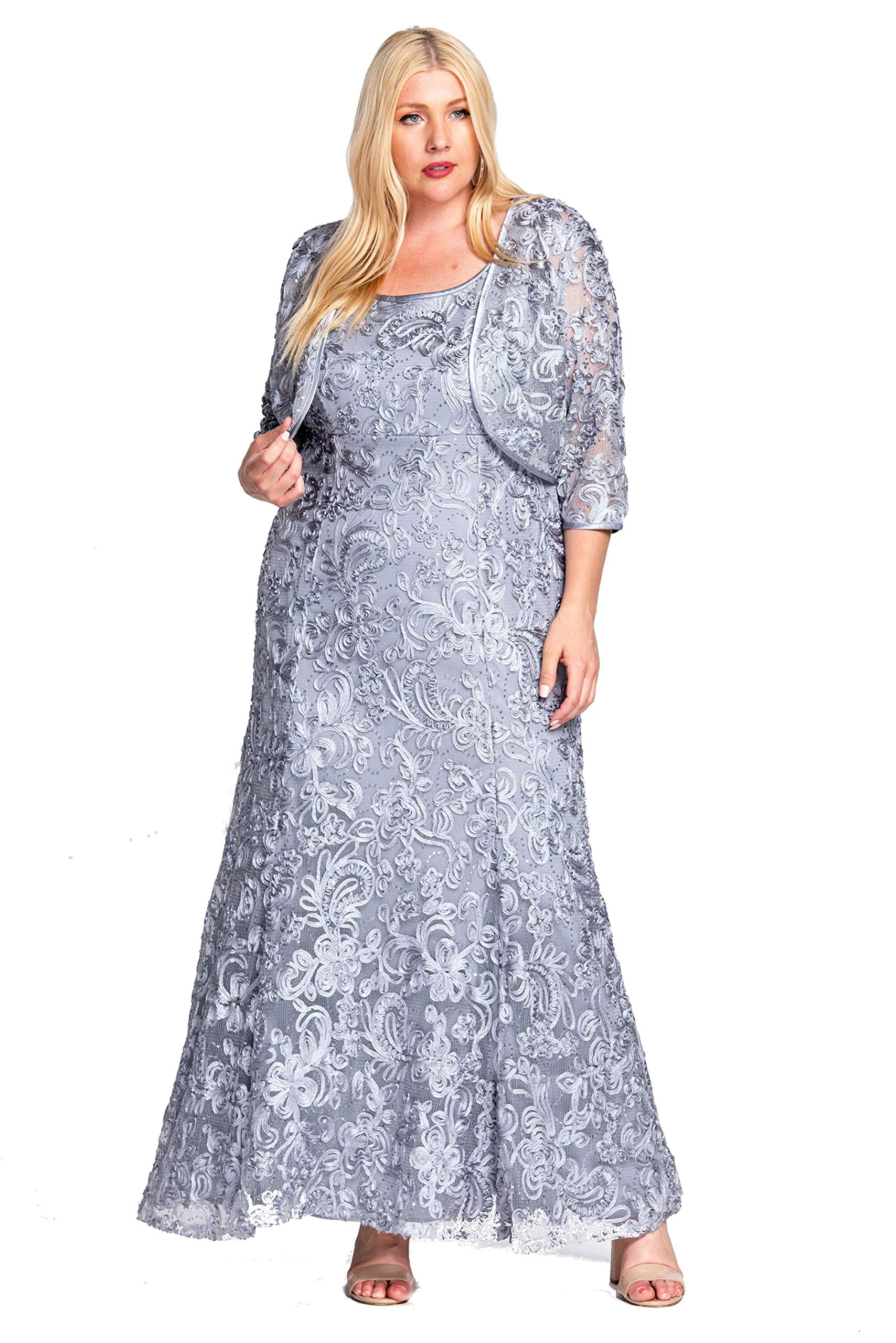 R&M Richards Long Mother of The Bride Plus Size Dress Silver