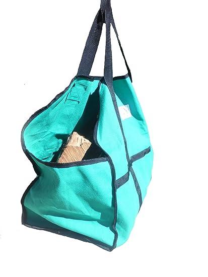 durahearth Log Carrier – PREMIUM lienzo leña bolsa – Beats piel – No Mess cerrado extremos