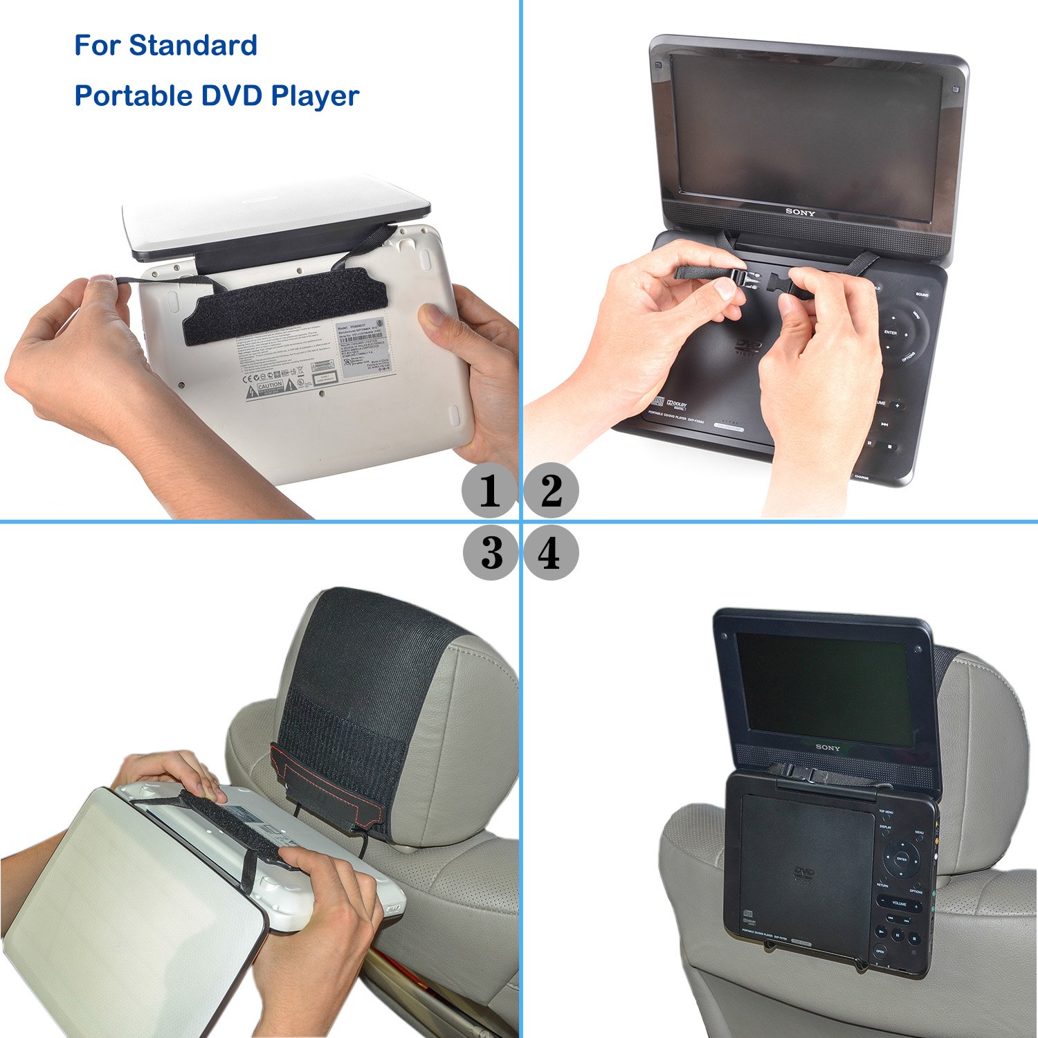 Amazon com tfy universal car headrest mount holder for portable dvd player cell phones accessories