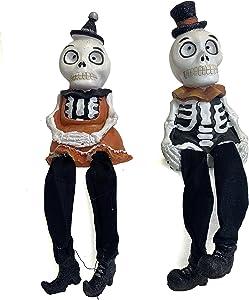 Gerson Spooky Skeleton Couple Halloween Shelf Sitter Figurines - Set of 2