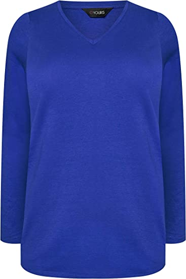 Yours Clothing Womens Plus Size Purple T-shirt Long Sleeve Top Scoop Neck 16-32