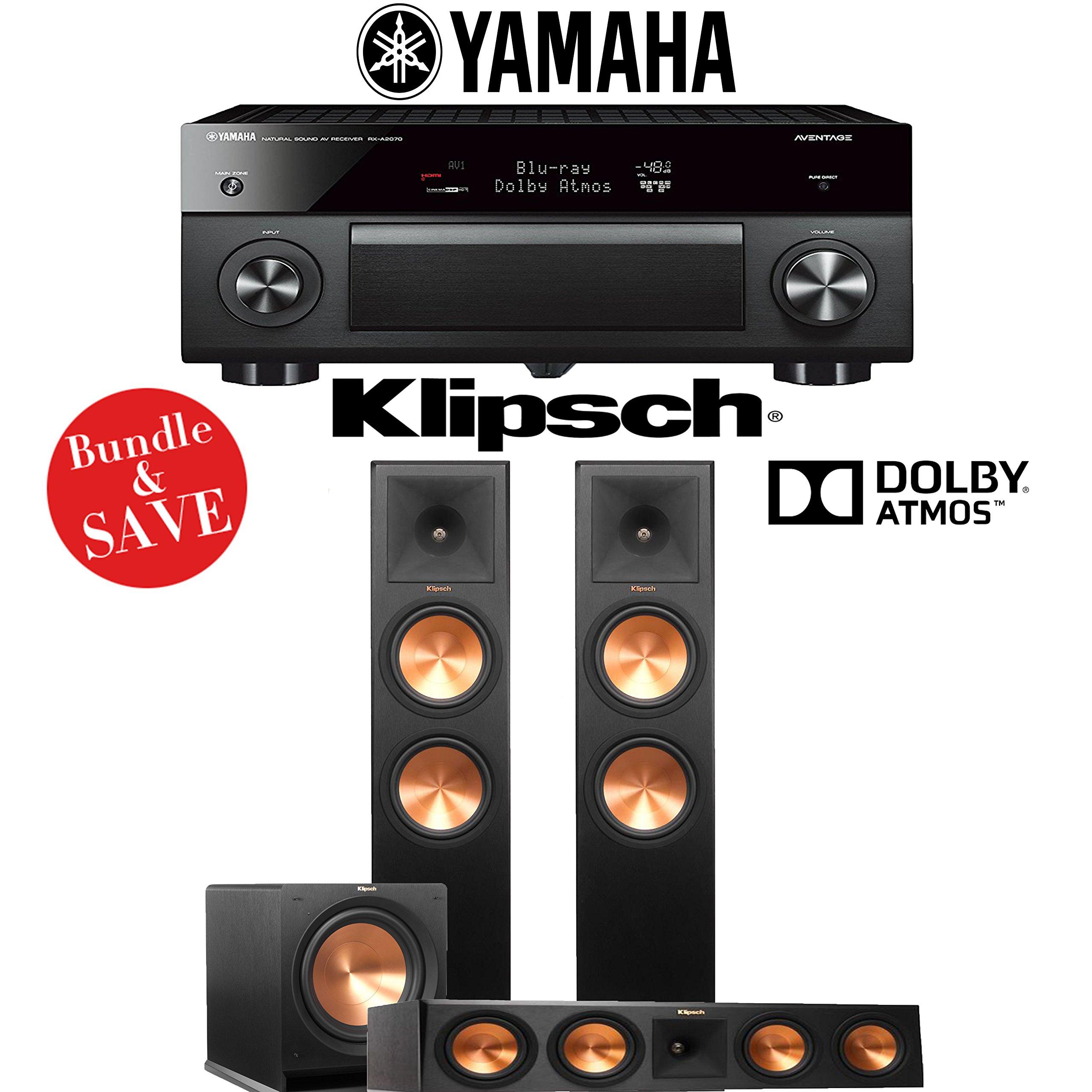 Yamaha AVENTAGE RX-A2070BL 9.2-Ch 4K Network AV Receiver + Klipsch RP-280FA + Klipsch RP-450C + Klipsch R-112SW - 3.1-Ch Dolby Atmos Home Theater Package by Klipsch