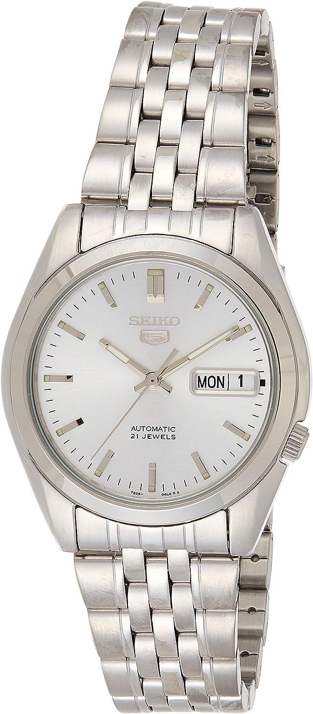 SEIKO SNK355 - Reloj de Caballero movimiento automático con brazalete metálico, plata