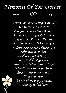 Memories Of You Brother Memorial Graveside Poem Keepsake Card Includes Free Ground Stake F81