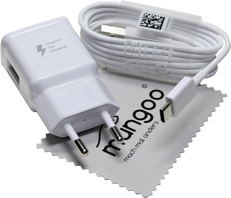 Cargador para Original Flash rápido Samsung 2A + USB Cable de tipo C Cable de carga de datos para Samsung Galaxy A3 2017 (A320F) con mungoo pantalla
