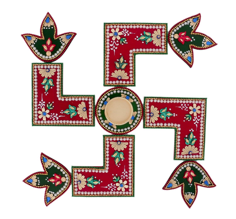 Amazon Com Itiha 3 In 1 Red Swastik Design Rangoli With