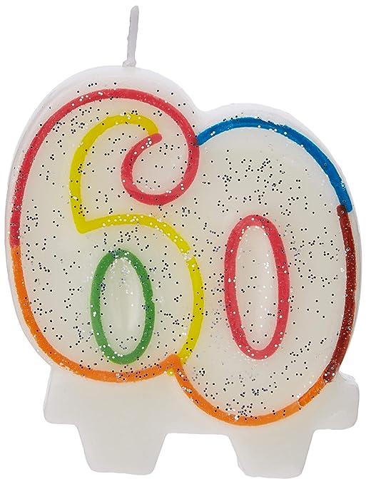Amscan 9900813 7,5 cm Milestone 60 Años Cumpleaños Vela ...