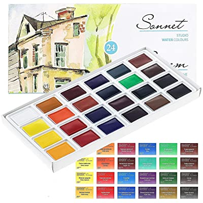 24 SONNET STUDIO WATERCOLOURS Paint Set Russian Nevskaya Palitra: Home & Kitchen