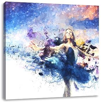 Wunderschöne tanzende Ballerina, Format: 60x60 auf Leinwand, XXL ...