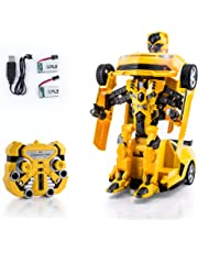 SPIRE-TECH ST-631 RC Car 2.4GHz Transformers Style Remote Control Car with Talking Drifting One Touch Transform Autobot Robot Sound FX Lights