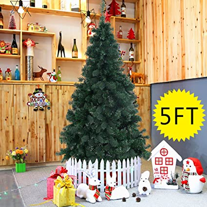 amazoncom goplus artificial christmas tree xmas pine tree with solid metal legs perfect for indoor and outdoor holiday decoration 5 feet green home
