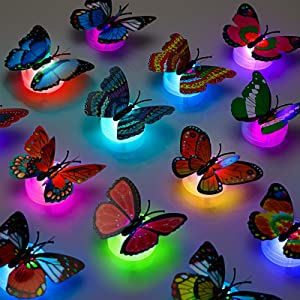 24 Pieces 3D LED Butterfly Decoration Night Light Sticker Single and Double Wall Light for Garden Backyard Lawn Party Festive Party Nursery Bedroom Living Room