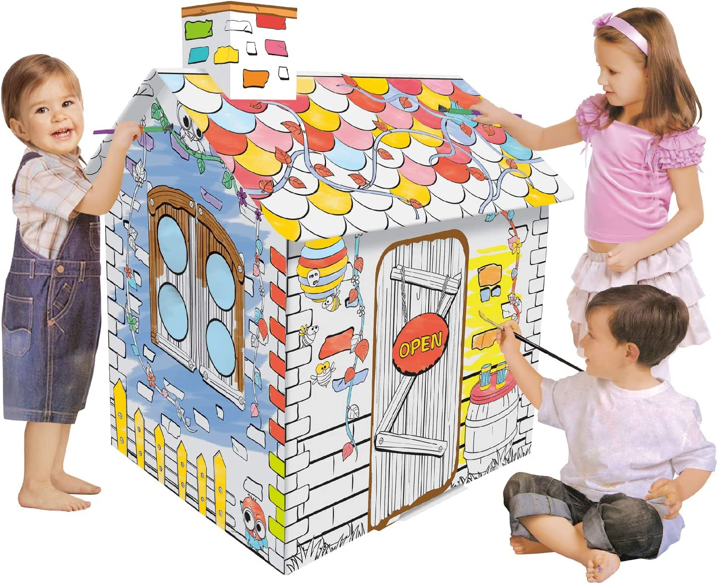 NINOSTAR Easy DIY Coloring Playhouse - Kids Art and Craft for Indoor Fun and Outdoor