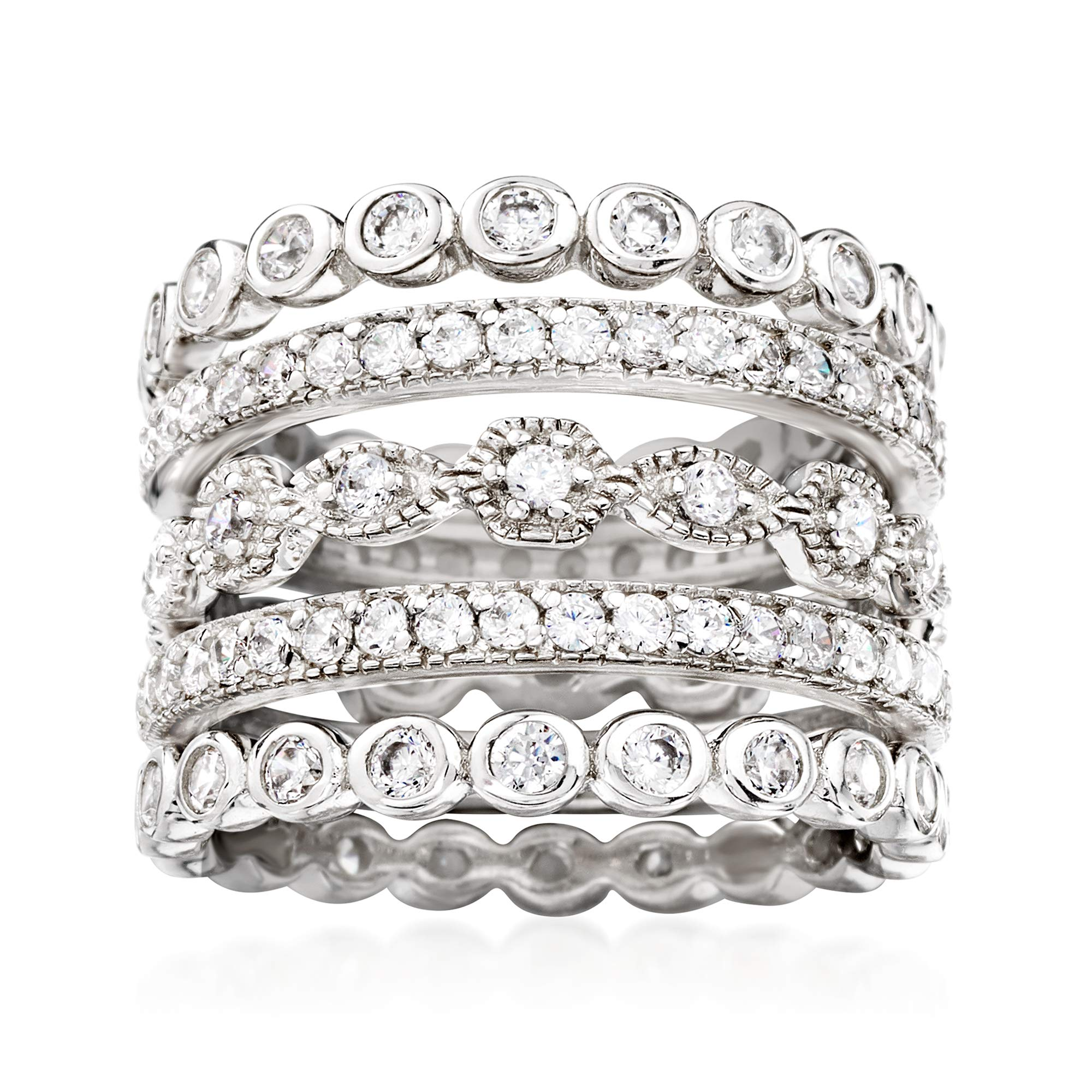 Ross-Simons 2.50 ct. t.w. CZ Jewelry Set: 5 Eternity Bands in Sterling Silver by Ross-Simons