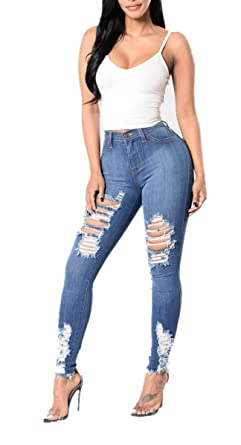 b2d4defa8a Women s Classic High Waist Stretch Ripped Hole Distressed Denim Skinny Jeans  at Amazon Women s Jeans store