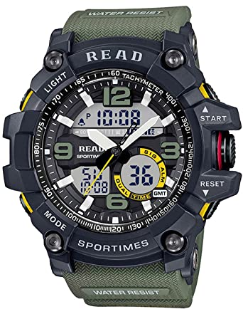 Reloj Digital para Hombre Militar al Aire Libre, multifunción, Deportivo, Cara Grande, electrónico, Color Verde Amarillo.: Amazon.es: Relojes