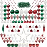 ITART Christmas Tree Assortment Ornaments Kits Including Tree Topper Red White and Green