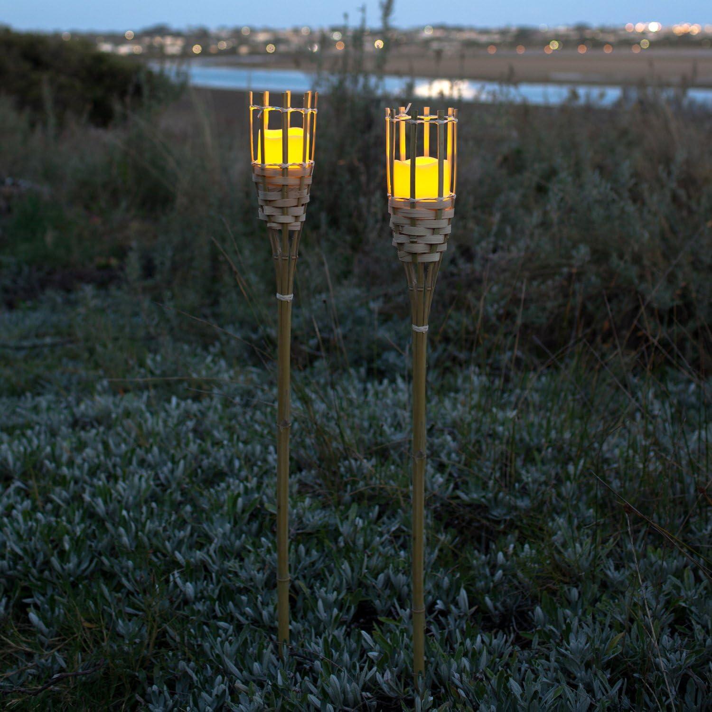 Lights4fun - Antorcha de Bambú para Jardín con Vela LED a Pilas con Temporizador: Amazon.es: Hogar
