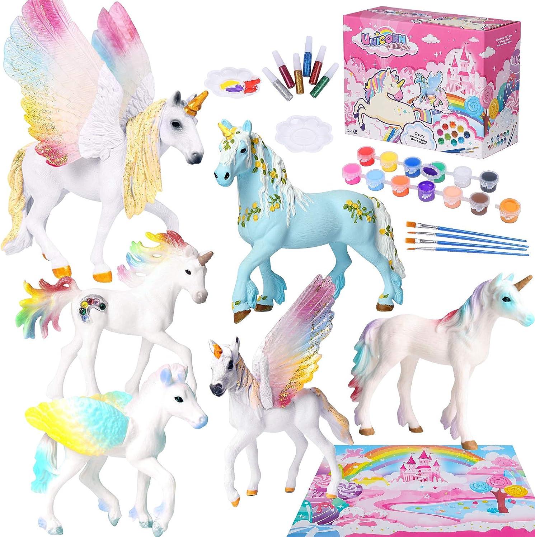 Tacobear Unicornio Figuras Pintar Juegos para Niños Unicornio Figuras para Pintar Unicornio Juguete Manualidades Creativo Juguete Cumpleaños Navidad Unicornio Regalo para Niña 4 5 6 7 8 9 años