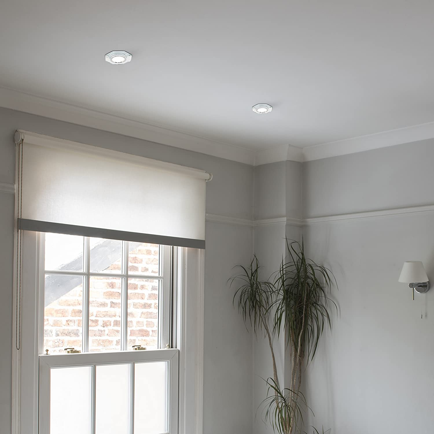 MiniSun Fire Rated Clear Glass and Chrome GU10 Contemporary Hexagonal Recessed Ceiling Downlight
