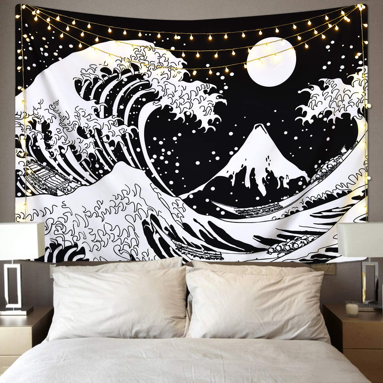 Amazon Com Japanese Wave Tapestry Kanagawa Great Wave Wall Tapestry Wave Tapestry With Sun Tapestries Black And White Tapestry For Room Everything Else