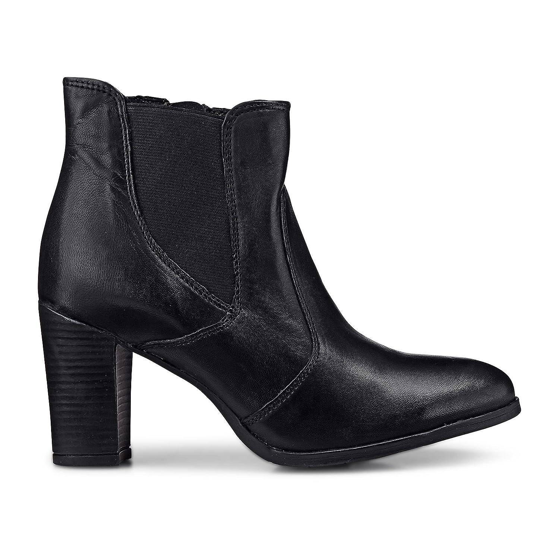 Cox Damen Chelsea Stiefelette aus Leder schwarzer Stiefel mit kurzem Schaft und Blockabsatz