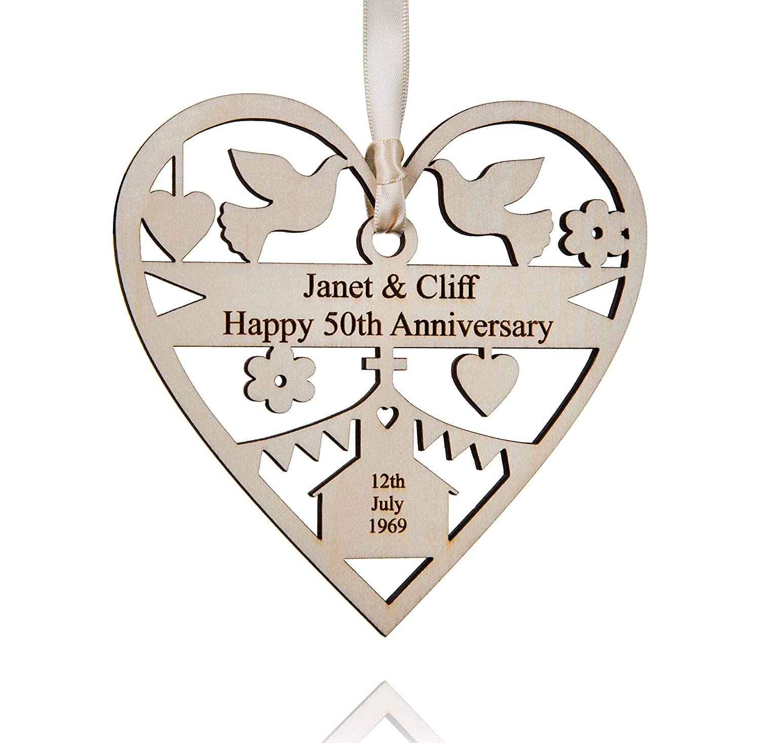 ALPHABET BARN Personalised Wedding Anniversary Gift wooden heart decoration for him or her, hand cut and engraved with your chosen wording, includes gift bag, keepsake measures 12.5cm x 12.5cm, Golden Silver Pearl Ruby Sapphire Diamond 1st 5th 10th 25th 3
