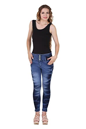 dcf8b448d7 SHREE FASHION CREATION Ladies Skin Tight Jeans High Waist Jeans (Denim Jeans  Dark Blue)  Amazon.in  Clothing   Accessories