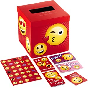 Hallmark Valentines Day Cards for Kids and Mailbox for Classroom Exchange, Emoticons (1 Box, 32 Valentine Cards, 35 Stickers, 1 Teacher Card)