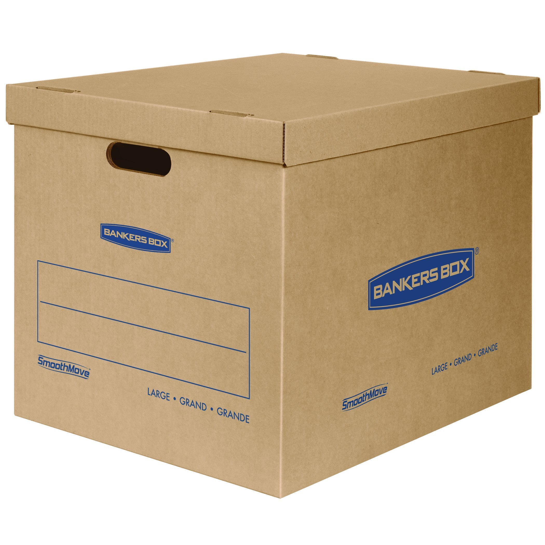 Bankers Box SmoothMove Classic Moving Boxes, Tape-Free Assembly, Easy Carry Handles, Large, 21 x 17 x 17 Inches, 5 Pack (7718201) (Renewed)