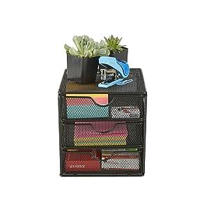 Mind Reader MINMESH3-BLK Mesh Mini 3 Tier, Desk Office Supplies Organizer, 3 Drawers, 1 Top Shelf, Black