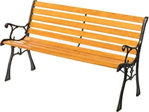 Gardenised Wooden Outdoor Park Patio Garden Yard Bench with Designed Steel Armrest and Legs, Black
