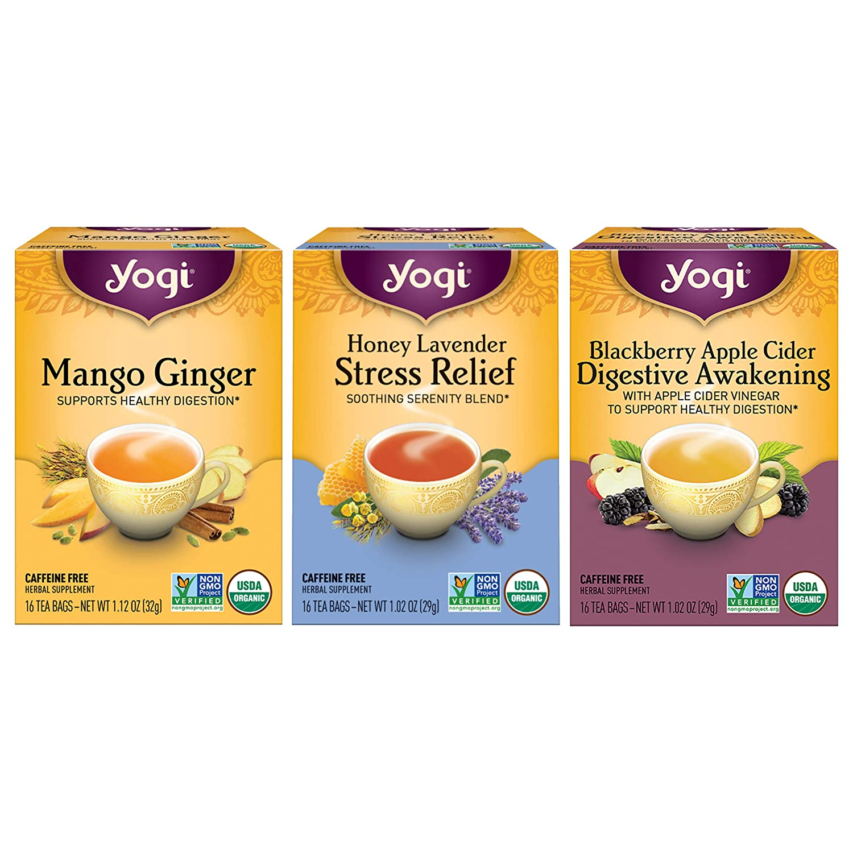Yogi Tea - Iced Tea Variety Pack Sampler (3 Pack) - Includes Mango Ginger, Honey Lavender Stress Relief, and Blackberry Apple Cider Digestive Awakening Teas - 48 Tea Bags