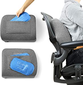Cureve Lumbar Support Memory Foam Back Pain Relief and Prevention Pillow with Hot and Cold Therapy - Gel Packs Included