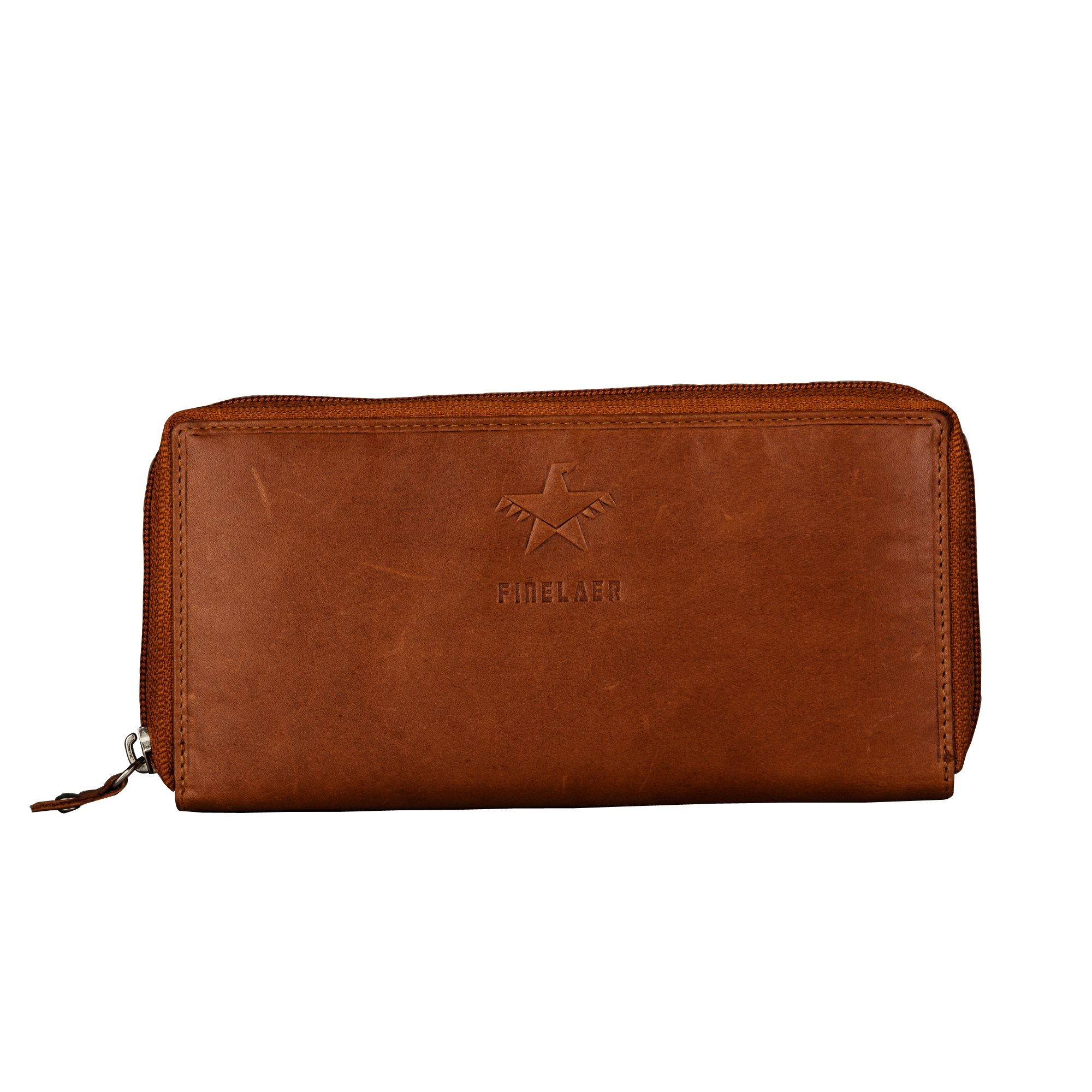 Finelaer Women Brown Leather Zip Around Clutch Purse Wallet