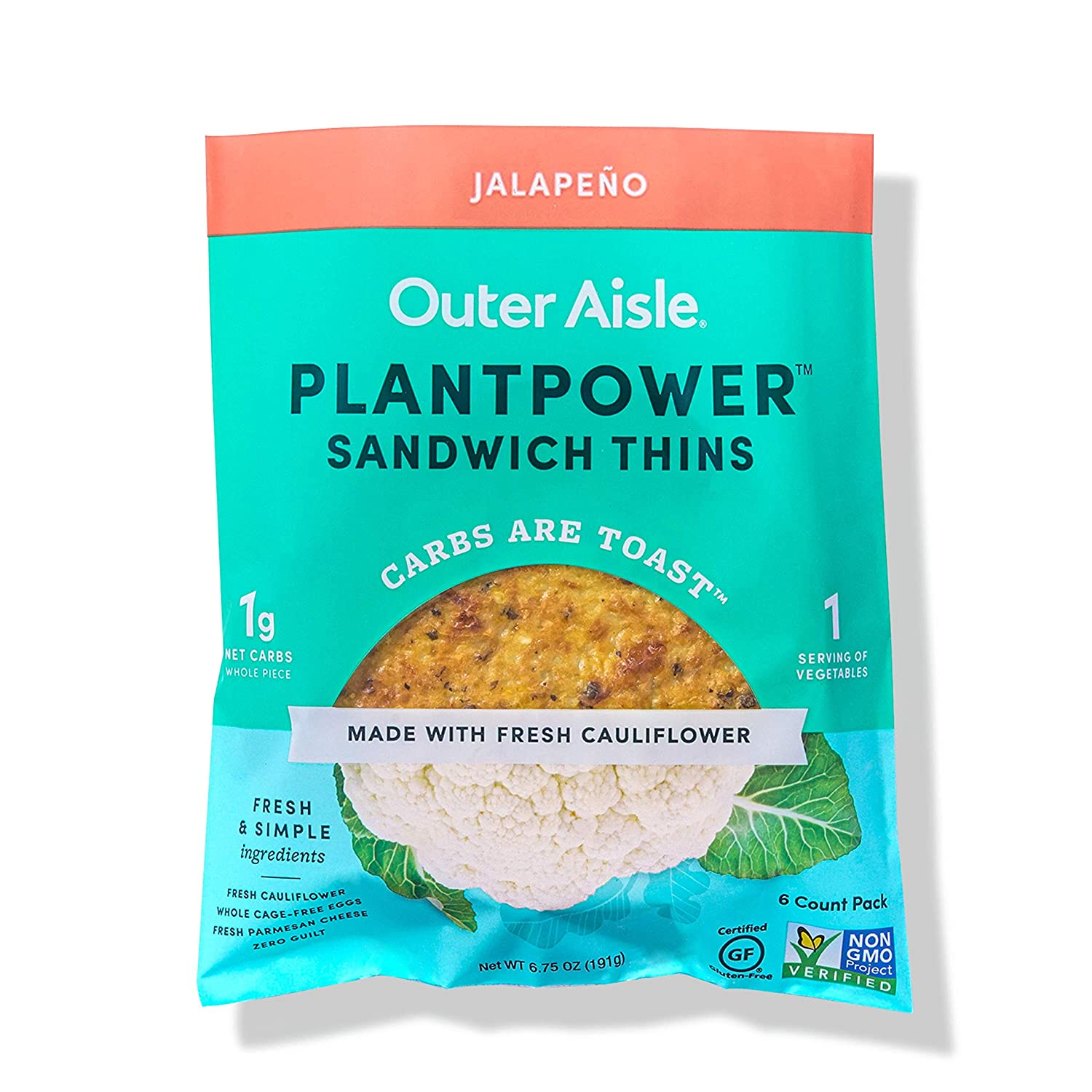 Outer Aisle Gourmet Cauliflower Sandwich Thins | Keto, Gluten Free, Low Carb & Paleo | Jalapeno | 24 Sandwich Thins