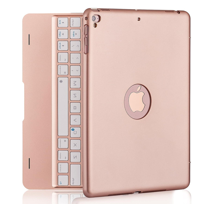 iPad Keyboard Case iPad Pro 9.7 inch, New 2018 iPad, 2017 iPad, iPad Air 1 2 Bluetooth Keyboard 130° Smart Folio Hard Back Cover, Ultra Slim, Auto Wake Sleep (Rose Gold) NOKBABO
