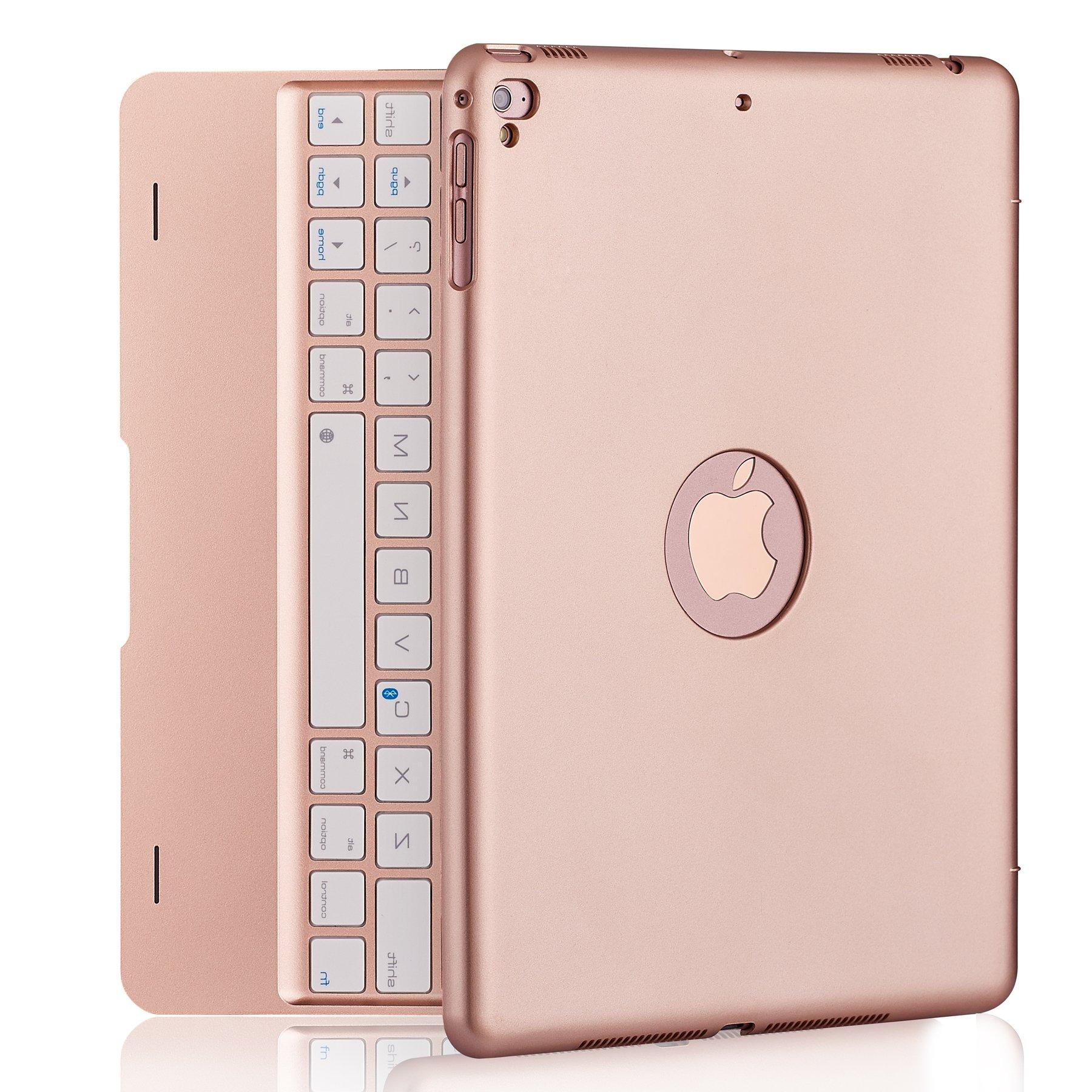 iPad Keyboard Case iPad Pro 9.7 inch, New 2018 iPad, 2017 iPad, iPad Air 1 2 Bluetooth Keyboard 130° Smart Folio Hard Back Cover, Ultra Slim, Auto Wake Sleep (Rose Gold)