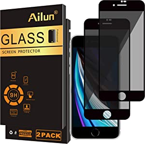 Ailun Privacy Tempered Glass Screen Protector Compatible with Apple iPhone SE 2020 2nd Generation,0.33mm Anti-Spy Tempered Glass 2Pack Anti-Scratch Case Friendly