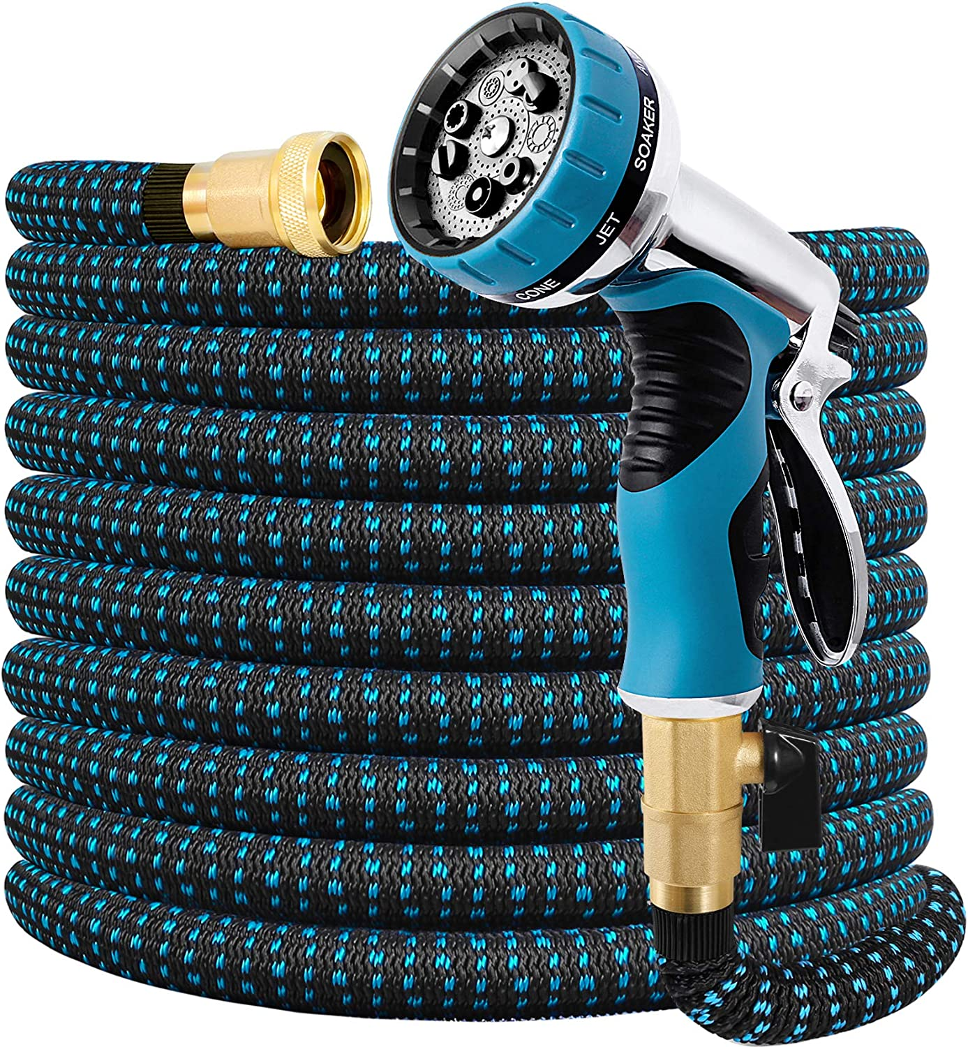 Expandable Garden Hose 50FT Water Hose with 9 Function Nozzle and Durable 3-Layers Latex, Extra Strength 3750D Flexible Hose with 3/4