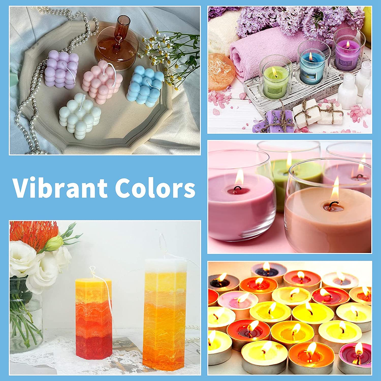 5 Grams for Each Bag JOELELI 25 Colours Candle Wax Dye Flakes for Making Candles Candle Dye for Soy Wax Melt Candle Wax Dye Chips Wax Colour Dye for Candle DIY Soap Making